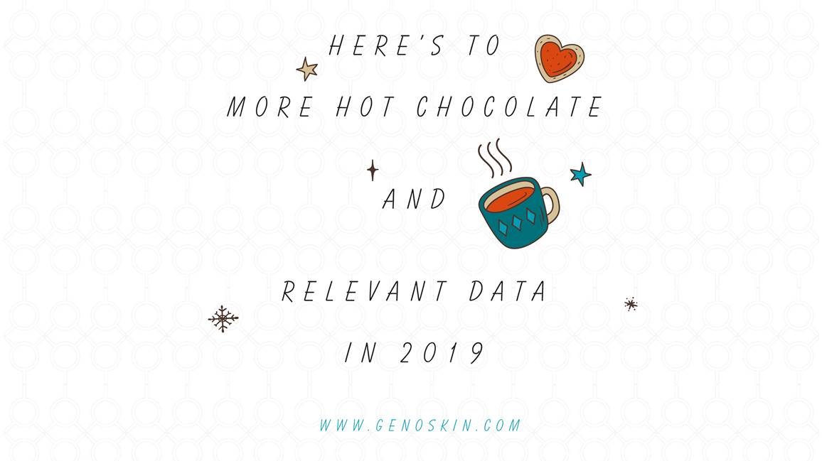 Genoskin wishes for 2019 card, here's to more hot chocolate and relevant data