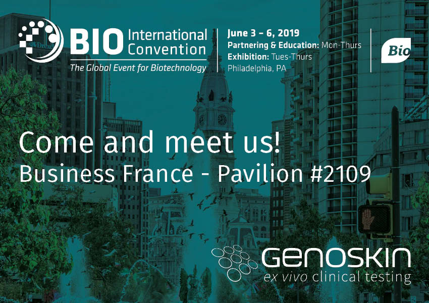 Illustration, Come and meet Genoskin at the BIO International convention from June 3 to June 6 2019 in Philadelphia,PA. Genoskin will be located at the Business France Pavilion, booth #2109