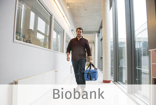 One skin expert part of our biobank team, carrying some skin tissue.