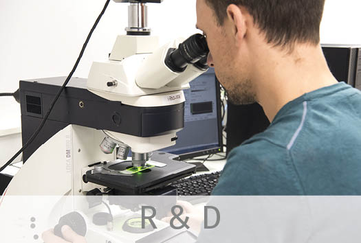 One skin expert from our R&D team, working on the microscope