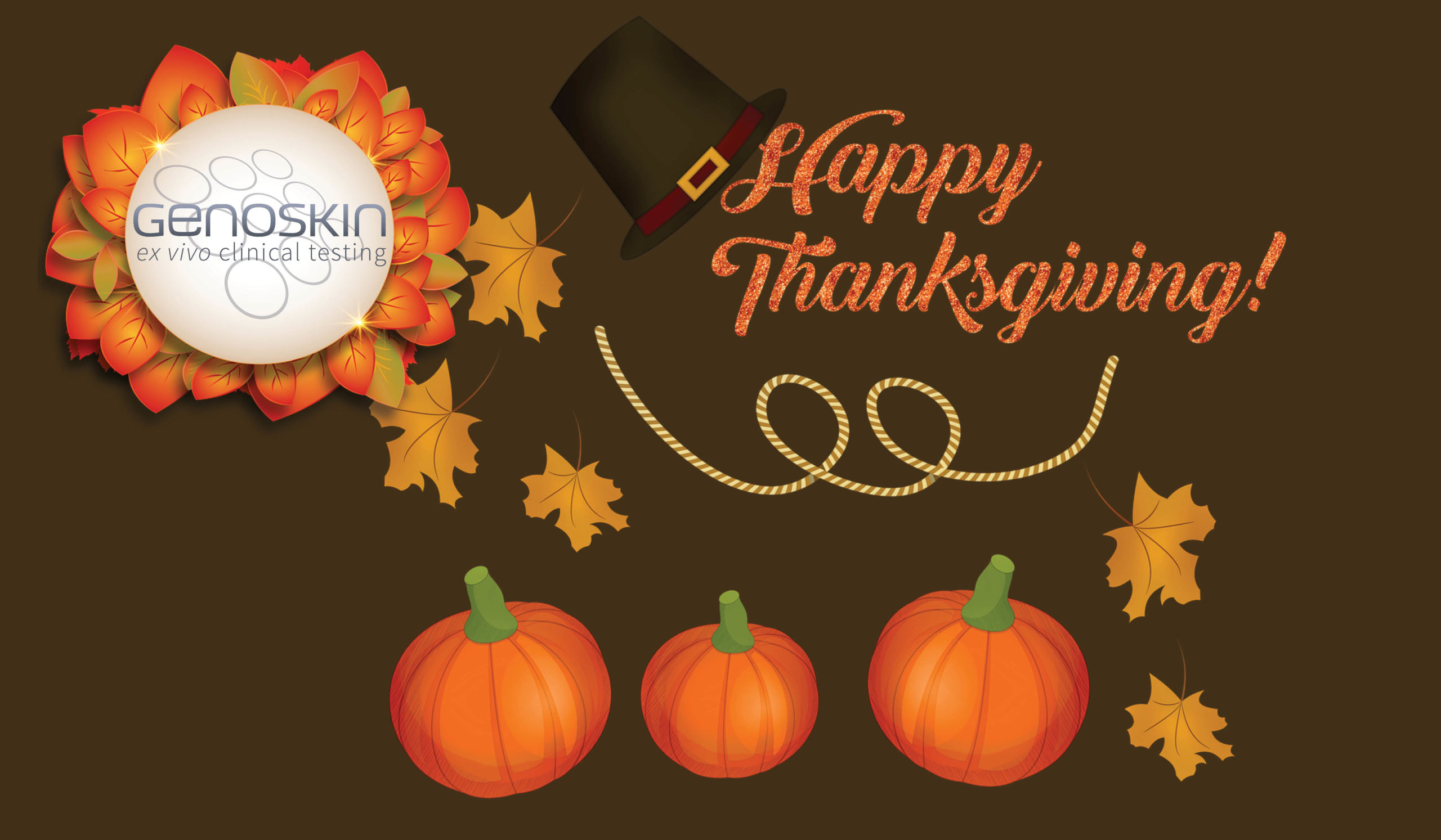 Happy Thanksgiving Illustration showing pumpkins and leaves