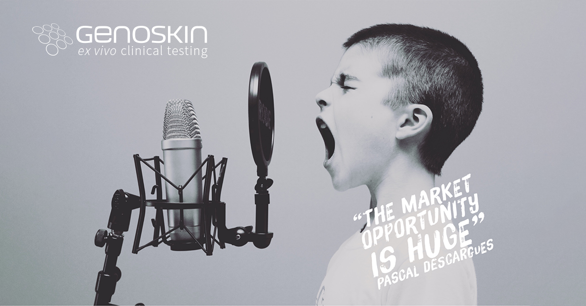 """A boy screaming with quote from Benzinga article """"The market opportunity is huge"""" Pascal Descargues"""